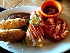 レシピとお料理がひらめくSnapDish - 29件のもぐもぐ - Quesadillas, Shrimp & Crab Enchilladas with Mexican Rice & Red Beans by Ron Cortado