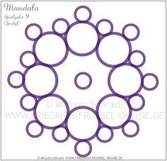 Mandala aus den Ringen der Spielgabe 9 nach Friedrich Froebel (lila Ringe-Mandala Nr. 9 von insg. 16 Mandalas) Froebel: Forms of Beauty (Schönheitsformen)