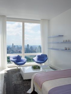 Breezy Contemporary Guest Bedroom With A View Of Manhattan | photo Michael Moran and Antoine Bootz | design Jennifer Post | House & Home