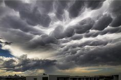 Mammatus clouds over Mascot, New South Wales.