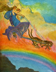 Tales from Norse Mythology by Katharine Pyle- Freyja (and Loki) drive out in search of Brisingamen