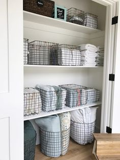 Simply Done: The Most Beautiful Linen Closet Storage And Organization storage closet organization ideas Closet Storage Bins, Linen Closet Organization, Laundry Room Organization, Bathroom Storage, Laundry Storage, Storage Organization, Storage Room, Linen Storage, Storage Ideas