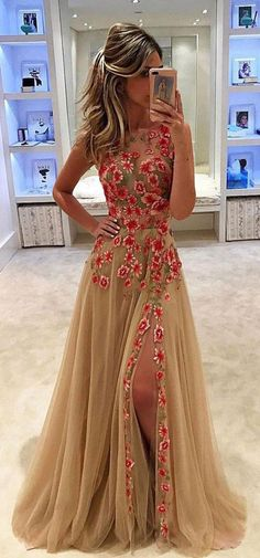 Tulle Prom Dress, Sleeveless Prom Dress, Side Split Prom Dress, A-Line Prom Dress, Applique Prom Dress, KX60 #okbridal #prom