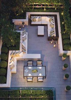 """Gardens are for people"" - outdoor living and dinning room, by Helen Green terrace design Top Interiors Designers in UK – Part 5 Backyard Patio, Backyard Landscaping, Backyard Layout, Backyard Seating, Patio Roof, Landscaping Ideas, Terraced Backyard, Sunken Garden, Garden Seating"