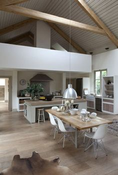 bright parquet floor and sloping ceiling in the Scandinavian kitchen More - Decoration For Home Casa Loft, Loft House, Barn Kitchen, Barn Renovation, Barn House Plans, Metal Building Homes, Scandinavian Kitchen, Home Decor Inspiration, Home Interior Design