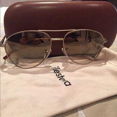 Illesteva aviator sunglasses Barely worn Illesteva matte gold aviator sunglasses with light brown frames. Illesteva Accessories Sunglasses