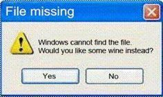 File Missing. Windows cannot find the file. Would you like some wine instead? Yes or no? LOL Gotta love some funny wine humor! Computer Humor, Computer Problems, Computer Science, Excuse Moi, Wine Quotes, Wine Sayings, American Pie, Lol, In Vino Veritas