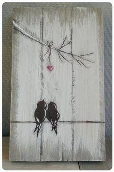 Vogeltjes op steigerhout.  Love it!