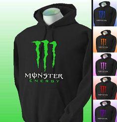 New Monster Energy Black Hoodie Pullover Sweatshirt. Sizes s m l xl xxl xxxl on Etsy, $39.95