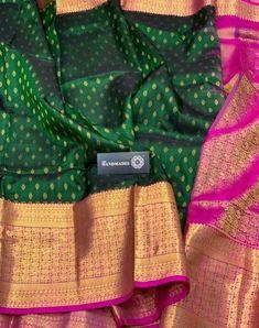 Bottle Green Color Pure Handloom Designer Gadwal Silk Saree in categories Gadwal Sarees / Sarees Kalamkari Dresses, Kanjivaram Sarees Silk, Kanchipuram Saree, Soft Silk Sarees, Bandhani Saree, Bottle Green Saree, Saree Color Combinations, Wedding Silk Saree, Bridal Sarees