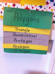Here is a flap book that shows the main types of polygons.  It has descriptions of each shape under the flaps.  Easy activity for children to learn the shapes. -Steve Petersen