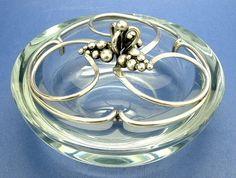 Danish Sterling Silver Crystal Dish Dansk by AntiquesAndTeacups