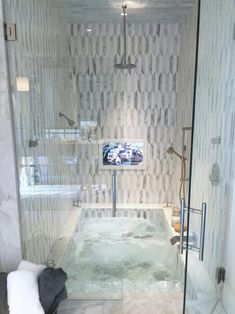 a sunken bathtub combined with a shower space and clad with neutral and catchy tiles is very comfortable and space saving French Country Kitchens, French Country Bedrooms, French Country Style, French Country Decorating, Bathroom Interior, Modern Bathroom, Master Bathroom, British Bathroom, Sunken Bathtub