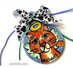 Custom dog or cat handmade pottery ornament from a by artzfolk