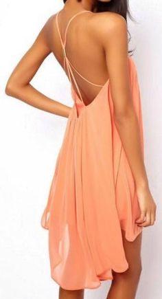 Coral Strappy Back Chiffon Dress ♥