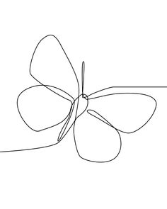 Butterfly Line Drawing, Flower Line Drawings, Simple Line Drawings, Simple Flower Drawing, Butterfly Outline, Butterfly Sketch, Butterfly Design, Butterfly Print, Tattoo Line Art