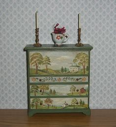 Dollhouse Miniature Hand Painted Folk Art Chest Drawers 1 12 L Lassige | eBay