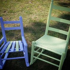Darling rocking chairs painted by Chalkin' It Up Va in Valspar and Websters Chalk Paint Powder! #websterschalkpaintpowder #anybrandanycolor