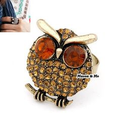 Korean Vogue Vintage Retro Style Charm Owl Finger Ring General. Small and catchy. REPIN if you like it.😍 Only 28.5 IDR