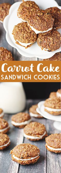 Carrot Cake Sandwich Cookies -- These carrot cake sandwich cookies combine a decadent cake mix cookie with a delicious homemade cream cheese frosting for the perfect handheld dessert!   halfscratched.com #carrotcake #cookies #dessert #sandwichcookies
