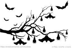 Halloween trees with bats , Halloween Trees, Halloween Diy, Happy Halloween, Wes Anderson Poster, Blue Bg, Hanging Bat, Flying Witch, Graphic Illustration, Digital Scrapbooking