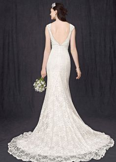 Petite All Over Beaded Lace Trumpet Gown - David's Bridal