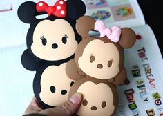 [S$9.90]CHOCOOLAETE Minnie Mouse TSUM TSUM Silicon Mobile Hand Cell HP Phone Cover Case Casing Protector for APPLE IPHONE 5 5S 6 6Plus Samsung Galaxy S4 S5 Note 4 - Black and Brown