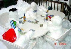 Snowmen are playing poker.