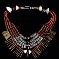 by Milene Rust | 'Dogon' series necklace; premium glass seed beads and hand picked authentic antique components form the West African Bead Trade since the 16th century. | Price on request