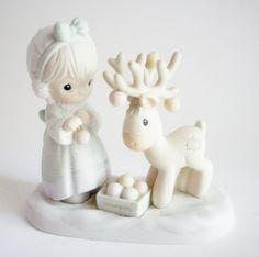 Vintage Precious Moments Figurine Merry Christmas Deer Retired Holiday Decorating