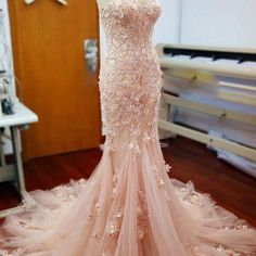 Pink Lace Sweetheart Sexy Mermaid Wedding Party Dresses With Appliques