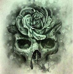 Skull and flower tattoo idea