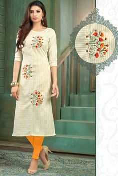 Kurti Embroidery Design, Embroidery Suits, Hand Embroidery Designs, Kurta Designs, Blouse Designs, New Kurti, Kurti Collection, Sleeve Designs, Indian Outfits