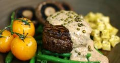 20 minutes · Serves 2 · Beef fillet with green peppercorn sauce is a special treat in Italian restaurants. Why not try cooking it at home for a romantic dinner? This recipe makes it easy. Green Peppercorn, Peppercorn Sauce, Green Pepper Sauce, Sardine Recipes, New Oven, Beef Fillet, Fried Mushrooms, How To Cook Steak
