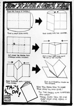 munyuck: 'How to make a quick zine'1) Using an A4 piece of paper fold it in half both ways2) Fold sides into the centre making creases3) Op...
