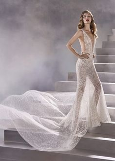 Wedding Dress CONSTELLATION by Pronovias - Search our photo gallery for pictures of wedding dresses by Pronovias. Find the perfect dress with recent Pronovias photos. White Ball Gowns, Lace Ball Gowns, Tulle Ball Gown, Anna Campbell Bridal, Sheer Wedding Dress, Wedding Gowns, Pronovias Wedding Dress, Wedding Dress Pictures, Dress Out