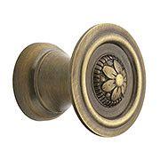 "Small Flower Design Cabinet Knob in Antique-By-Hand - 1"" Diameter (item #R-08BM-1246-ABH)"
