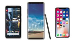 If you look at all three phones, they are very different with Samsung's Galaxy Note 8 being the heaviest and also sporting the biggest display. The Pixel 2 XL… Mobile Phone Comparison, Google Pixel 2, Samsung Galaxy Note 8, Galaxies, Apple Iphone, Battle, Smartphone, Instagram Posts