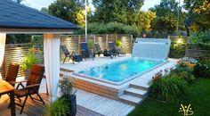 Pool And Spa Design For Outdoor Decor 12 Hot Tub Backyard, Small Backyard Pools, Backyard Patio Designs, Backyard Ideas, Spa Design, Small Pool Design, Pool Spa, Spa Spa, Kleiner Pool Design