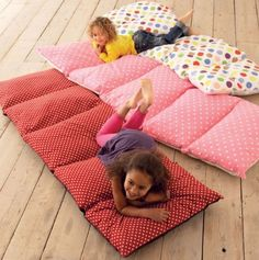 5 pillow cases sewn together, insert pillow cases and put to use during sleepovers.  You can also sew a blanket down one of the side seams and have a makeshift sleeping bag.  Perfect for daycare.