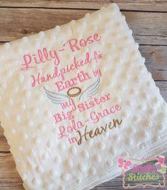 PERSONALISED Baby BLANKET Cot Pram Rainbow Heaven Pink Blue White ANY NAME