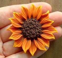 Orange Sunflower Focal Bead, handsculpted polymer clay. $14.00, via Etsy.
