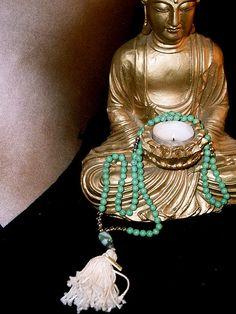 #Mala Beads turquoise, silver, cotton