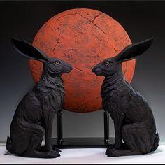 "Christine Kosiba. on Instagram: ""Lunar Hares ......................................#christinekosibasculpture #hares #celestial #moon #moonlight #contemporaryceramics #ceramic #sculpture #narrativeart… #celestial #moon #moonlight #contemporaryceramics #ceramic #sculpture #narrativeart #mythology #ceramics_monthly #clay #animalsculpture #ceramicsmonthly ....................................................Photo by @billgozanskyphotography"" Animal Sculptures, Sculpture Art, Ceramics Monthly, Contemporary Ceramics, Clay Art, Ceramic Art, Figurative, Moonlight, Mythology"