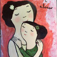 기타 Love Painting, Painting For Kids, Art For Kids, Naive, Hugs, Brown Eyed Girls, Print Wallpaper, Mother And Child, Photo Art