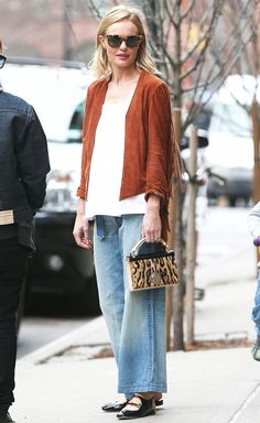 Celebrity Street Style Picture Description Kate Bosworth in a suede fringe  jacket + jean 9e83f2ed72ab