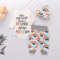 7c7747d86 Cheerful Letter and Rainbow Print Romper Pants Hat 3 Pcs Set