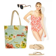 """Vintage Hawaii"" by sassysaks @Polyvore http://www.sassysaks.com/products/beach-tote/hawaii-island.php"