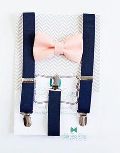 Navy Suspenders Blush Bow Tie - Little Boy Swag Navy Bow Tie, Baby Boy Bow Tie, Kids Bow Ties, Dusty Blue, Navy Blue, Chambelanes, Little Boy Swag, Color Durazno, Little Girls