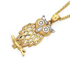 9ct Gold Two Tone Large Owl Pendant